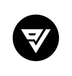 initial letter ov or vo logo icon design on black vector image
