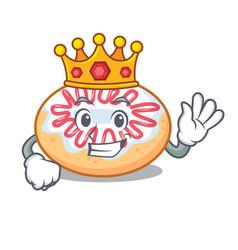 King jelly donut mascot cartoon vector