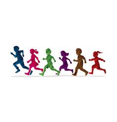 Little boy and girl running group children run vector