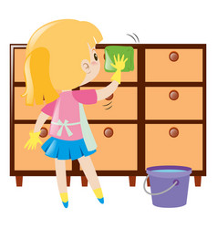 Little girl cleaning drawers vector