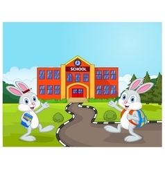 Little rabbits are going to school vector image