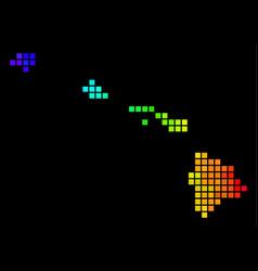 luminous pixelated havaii islands map vector image