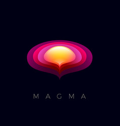 magma logo half sphere and orbits emblems abstract vector image