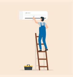 Man electrician service for repair vector
