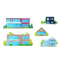 mansion houses townhouses and family homes vector image