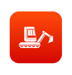 Mini excavator icon digital red vector