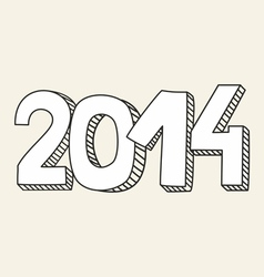 New Year 2014 hand drawn doodle sign or number vector image vector image