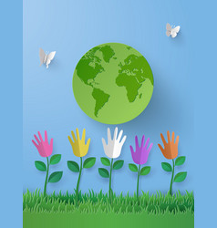 paper art of eco concept with multicolurful hand vector image