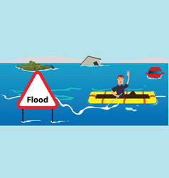 People need help of flood disaster vector
