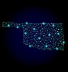 polygonal 2d mesh map of oklahoma state with light vector image