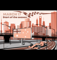 racing cars on the highway formula 1 on the red vector image