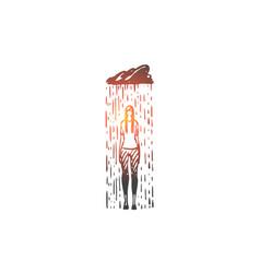 rain depression woman sad stress concept vector image