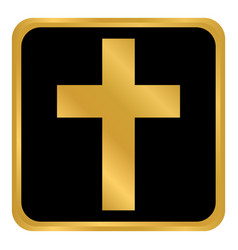 religious cross button vector image