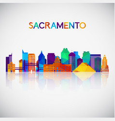 sacramento skyline silhouette in colorful vector image