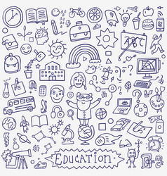 school education - doodle set vector image