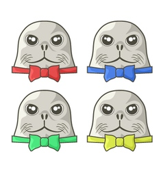 seals with elegant bows vector image