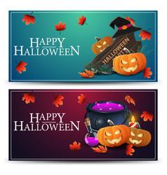 set halloween greeting horizontal postcard with vector image