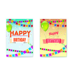 set happy birthday greeting posters festive vector image