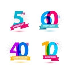 Set of anniversary numbers design 5 60 vector