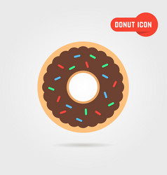 simple donut icon with shadow vector image