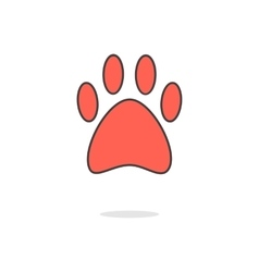 Simple red paw icon with shadow vector