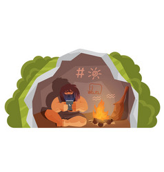 Stone age primitive man holding mobile phone vector