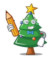 Student christmas tree character cartoon vector