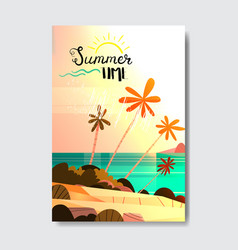 summer vacation tropical sunset beach badge design vector image