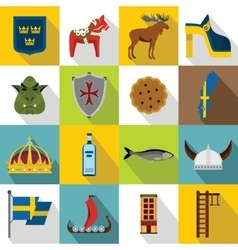 Sweden travel icons set flat style vector image vector image