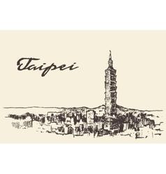Taipei skyline Taiwan hand drawn sketch vector