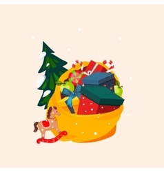 Toy Bag Full of Gifts and Christmas Tree vector