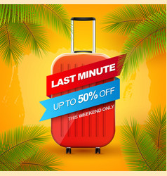 vacation banner with red travel baggage winded up vector image