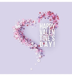 Valentines Day card with pink flowers heart shaped vector image