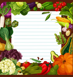 Vegetable salad recipe template vector