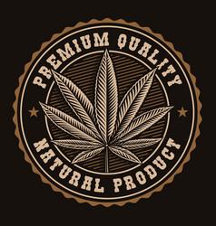 vintage badge a cannabis leaf vector image