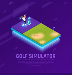 vr golf simulator isometric composition vector image
