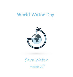 Water drop and water tap icon with globe icon vector