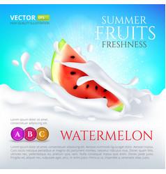 watermelon slice falling in milk or yogurt splash vector image