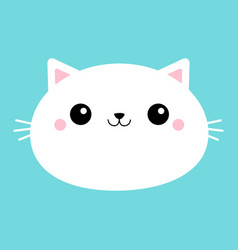 white cat head face oval icon with big eyes cute vector image