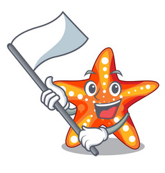 with flag underwater sea in the starfish mascot vector image