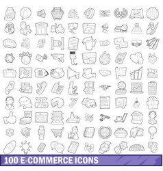 100 ecommerce icons set outline style vector image