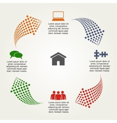 Abstract infographic with dots arrows vector image vector image