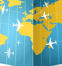 Airplanes flying over the world map vector image vector image