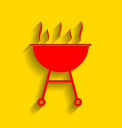 barbecue simple sign red icon with soft vector image vector image