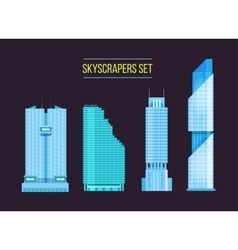 modern skyscrapers icons set on the dark vector image vector image