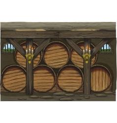 old wine barrels vector image vector image