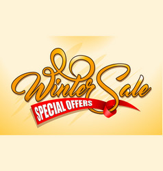 orange text winter sale with red ribbon vector image vector image
