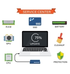 Upgrade your laptop with new components vector image