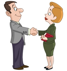 Business man and woman shaking hands vector