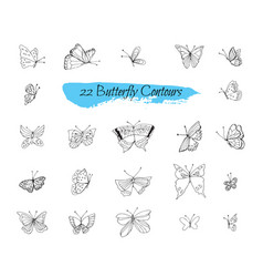 collection of handmade sketches with butterflies vector image